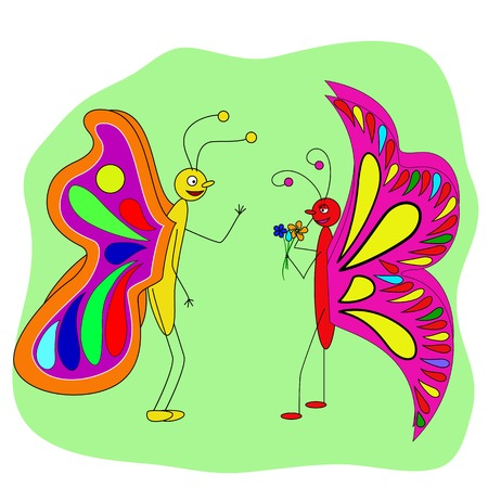 two butterfly lovers talk. beautiful insects - butterflies. He gave her the flowers and she hesitate