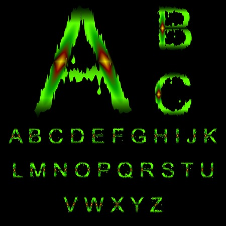mucus: letters of green mucus. the alphabet of green mucus with light red sore