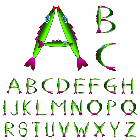 model fish: letters from fish. the alphabet of funny green fishes for your design Illustration