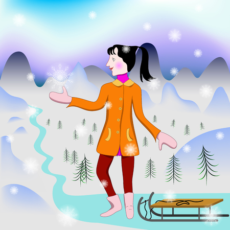 snow sled: Girl catches first snowflake. Girl with sled looks at the first snow and wants to catch a snowflake