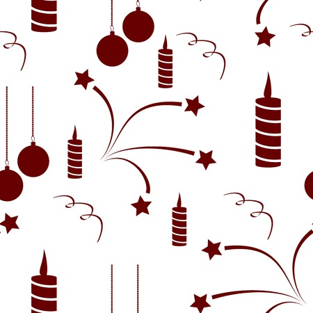 serpentines: Seamless of set for Happy New Year. fireworks, candles, serpentines and Christmas toys seamless for your design Illustration