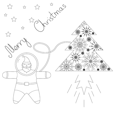 plot: Santa is flying in space near his rocket tree. contour Plot. Santa astronaut flying to the stars in a spaceship in the form of a Christmas tree