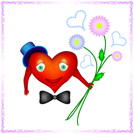 frill: heart of a man is holding bouquet of chrysanthemums. heart of a man with tie Butterfly and blue hat is ready to present chrysanthemums for woman