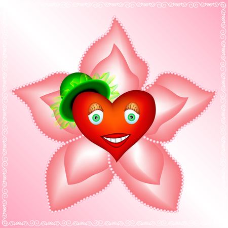 frill: heart of a woman is in big pink flower with pearls. lovely heart of a woman in soft light pink petals of flower