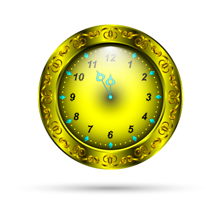 hour glass figure: gold clock with curly ornament. holiday clock for your design