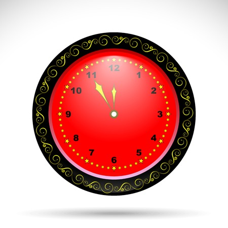 hour glass figure: red clock with yellow curly ornament. holiday clock for your design Illustration
