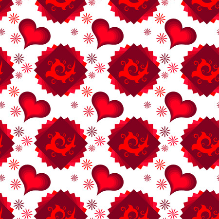 multilayer: Seamless of red multilayer hearts, squares and chamomiles. different chamomiles around ornament on multilayer squares with red hearts for your design
