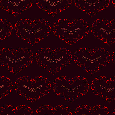 heart burn: Seamless of burning hearts with curly pattern inside them. red big hearts made from little hearts for your design