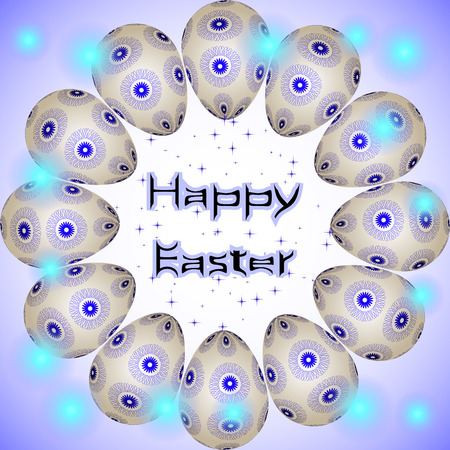 interweaving: Happy Easter holiday eggs with blue interweaving round ornament arranged in a circle. Happy Easter postcard with eggs in circle, little blue stars and transparent lights around Illustration