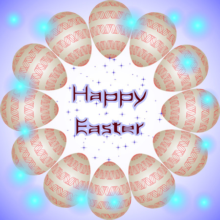 interweaving: Happy Easter holiday eggs with red interweaving ornament arranged in a circle. Happy Easter postcard with eggs in circle, little blue stars and transparent lights around
