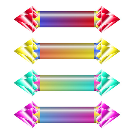 different ways: Indicators in different ways with gems on each side of indicator. different colors of indicators shows loading time