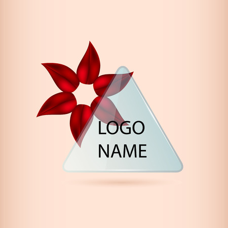 flower petal: Logo banner with red petal flower and glass. transparent triangle with petals of red for your design Illustration