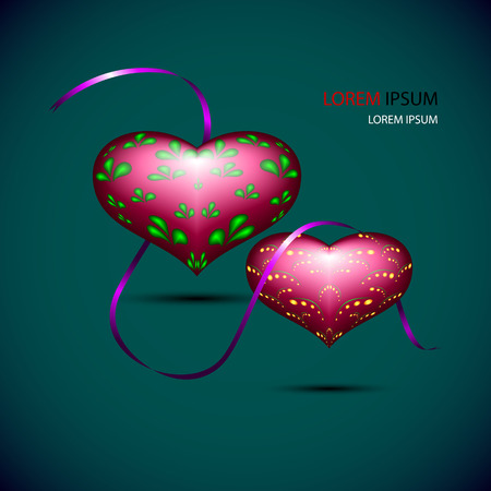 vinous: Volume vinous hearts with violet ribbon. hearts with volume pattern and thin tape for your design
