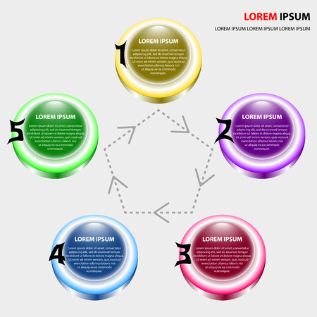 conception: Infographics of five elements buttons. different colorful buttons for business conception