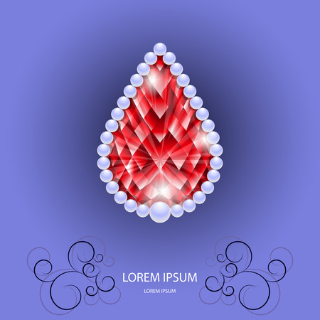 ruby stone: Red ruby in share of drop with pearls. jewelry stone for your design Illustration