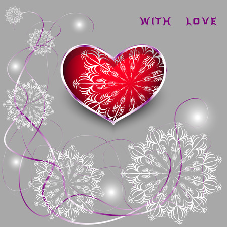 iron ribbon: Red heart with laces and thin ribbons. symbol of love in metal frame with snowflakes and tapes for your design