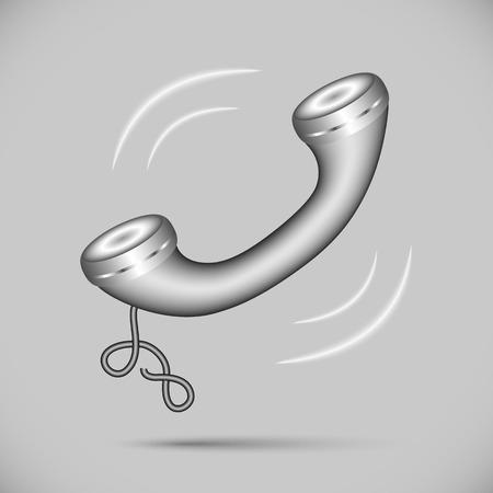telephone cord: Metal handset calls. handset icon for your design Illustration