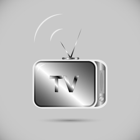 antennas: Icon of television. an old-fashioned TV with antennas for your design Illustration