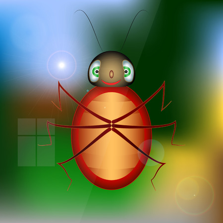crawling: Ladybug on the window glass. insect crawling on glass and smiles. Illustration