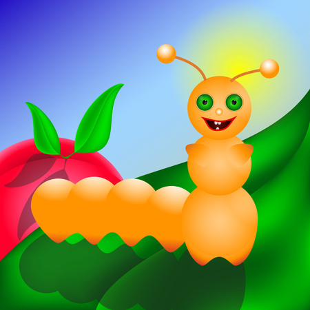 leaf insect: Caterpillar smiling on the green leaf. insect very glad to be on cherry leaf fot your design .... Illustration