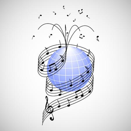 La música en todo el mundo. bastón y de las notas como la cinta envuelta alrededor de la Tierra Ilustración de vector