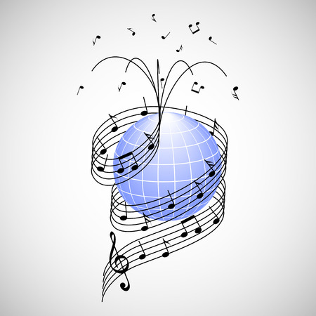 stave: Music around the world. stave and notes like ribbon wrapped around the earth Illustration