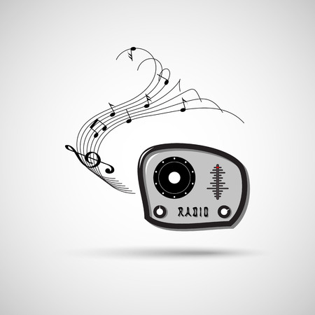 frequency: Music is coming from the radio. in the radio frequency is singing beautiful music Illustration