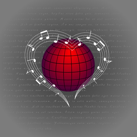 music like heart around the world. love melody around the planet