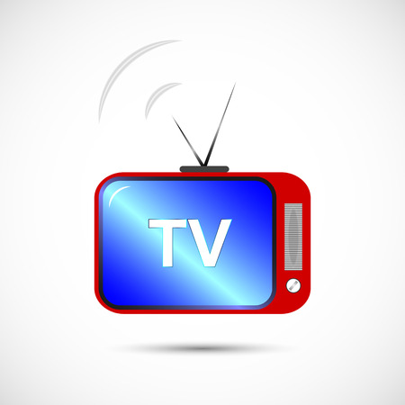 outmoded: Icon of television in color. an old-fashioned TV with antennas for your design