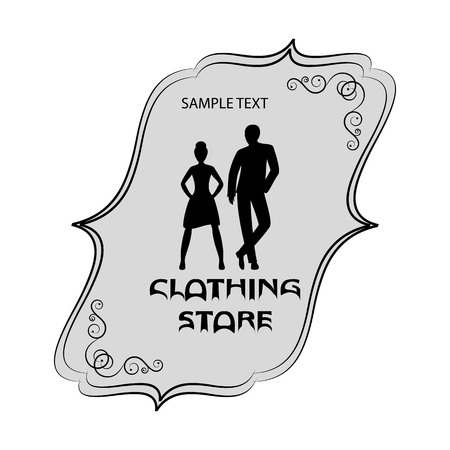 signboard form: Signboard of clothing store for men and women. banner or logo with men and women in fashionable cloth