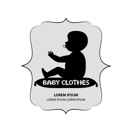 suckling: signboard or logo of baby clothes. little baby sits on pillow with dummy