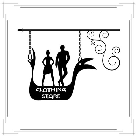 signboard form: Clothing store single signboard. black signboard of fashionable silhouette of man and woman Illustration