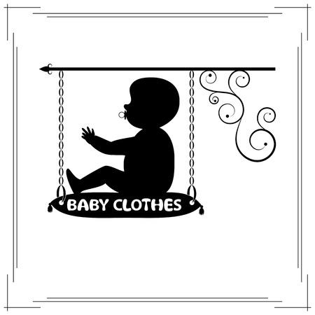 signboard form: Baby clothes single signboard. black signboard of fashionable silhouette of little baby