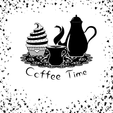 time frame: Coffee time with coffee pot and cupcake. card or banner of coffee time with frame of spots Illustration