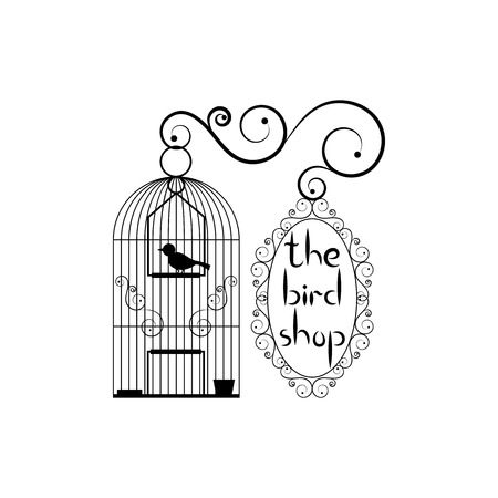 signboard form: Signboard of bird shop. Birdcage with bird and signboard with title Illustration