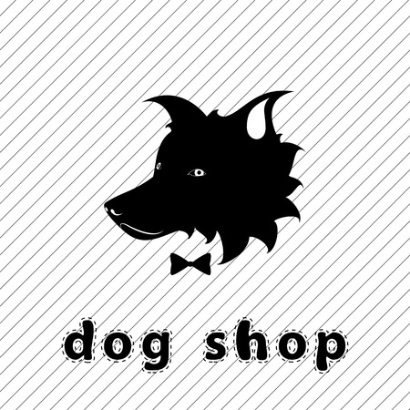 Dog shop signboard. dog silhouette for store advertising