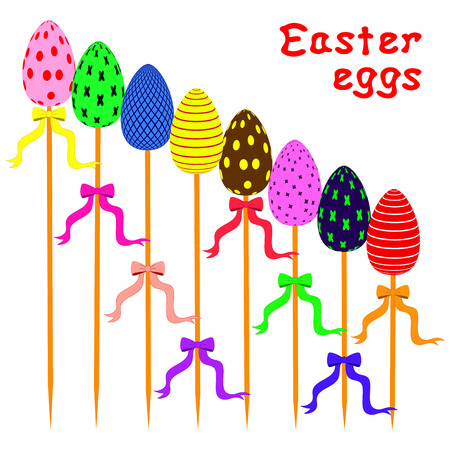 skewer: easter eggs on sticks arranged as ladder. each easter egg with a bow on a skewer