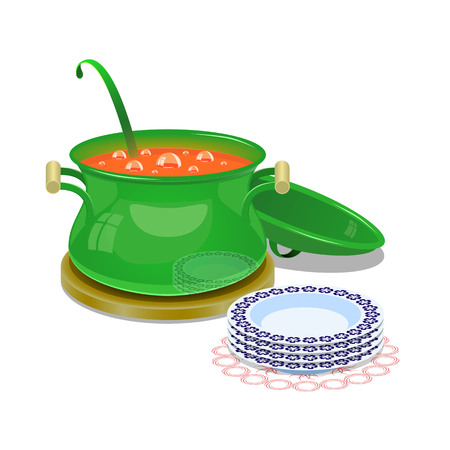 Iron pan with hot soup and some plates. In green pan is boiling soup for pour it in to plates for dinner