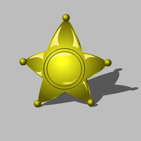 sheriff badge: Sheriff badge as golden star. five-pointed figure indicates the status of the sheriff Illustration