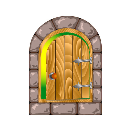 hinges: semicircular wooden door in a stone house. half-open door on the iron hinges