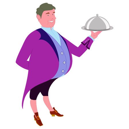 tailcoat: Footman with dish for quests. waiter in tails offers a tasty dish