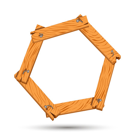 Wooden boards as frame with nails. Hexagon of boards hammered nails Illustration