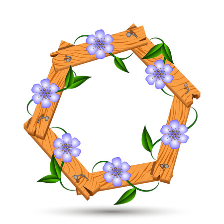 signboard form: Wooden frame with light blue flowers. clematis twisted around a wooden frame