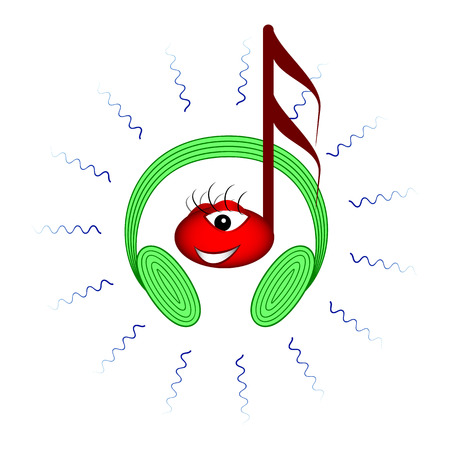 sounds: Note smiling with headphones and waves of music. from green headphones sounds music and note enjoy the music Illustration