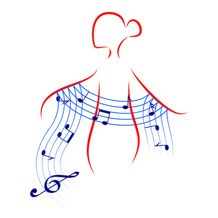 woman scarf: beautiful young woman with music shawl. symbol of melody or music for ladies Illustration