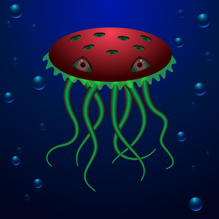 deep water: Ocean creature with big eyes and long tentacles. unusual deep water creature in red and green colors