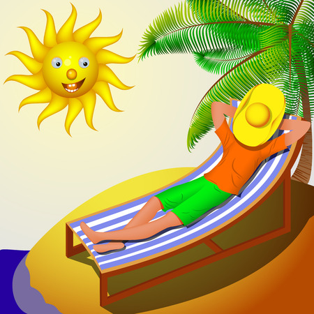 deckchair: A man resting on a deckchair on a sunny day. the bright sun illuminates a man on a deck chair in a cowboy hat Illustration
