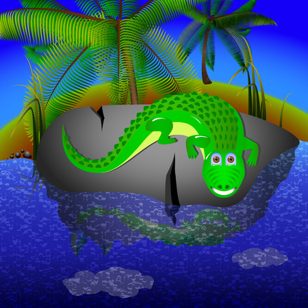 river rock: Crocodile lies on a big stone near the river. in tropical climates crocodile resting on a rock near the water