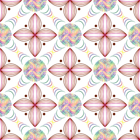 Seamless of colored lines in circles and geometric quatrefoil violet leaves. geometric figures of colored lines for your design