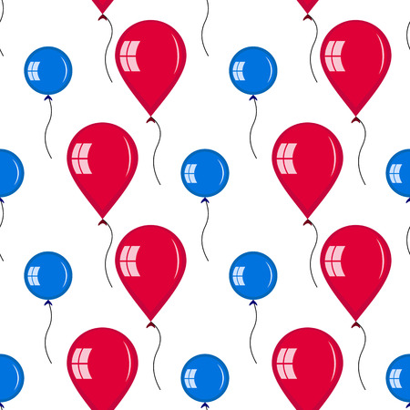 red balloons: Seamless of red and blue balloons. symmetric ornament of different type of balloons for your design